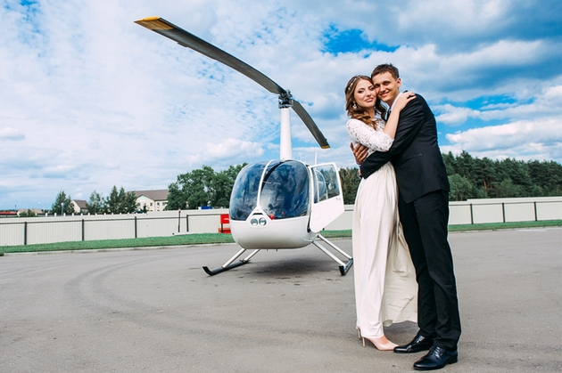 Helicopter waiting to transport this couple for their wedding day