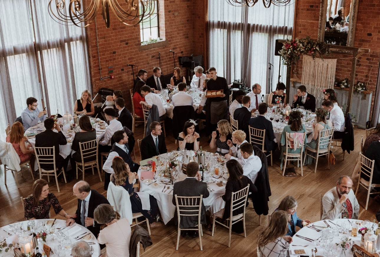 Looking down onto the tables at wedding breakfast