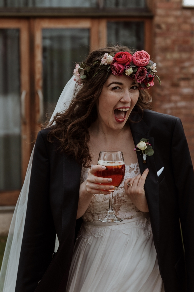 Bride borrows her groom's blazer