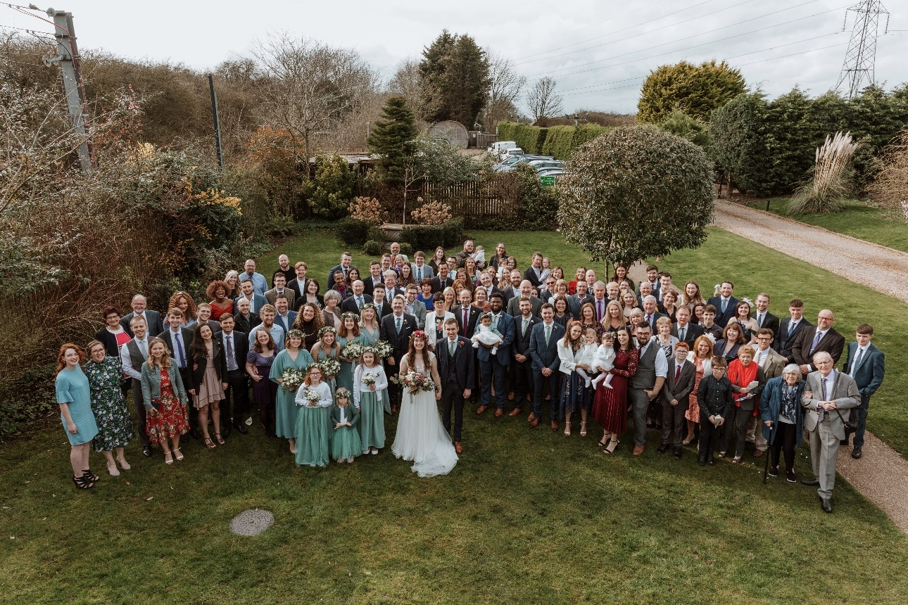 Aerial view of all of the wedding guests