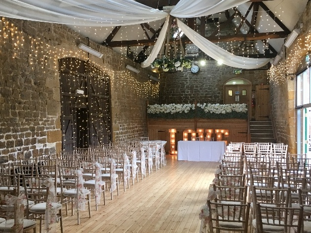 The beautiful ceremony space at The Barns at Hunsbury Hill