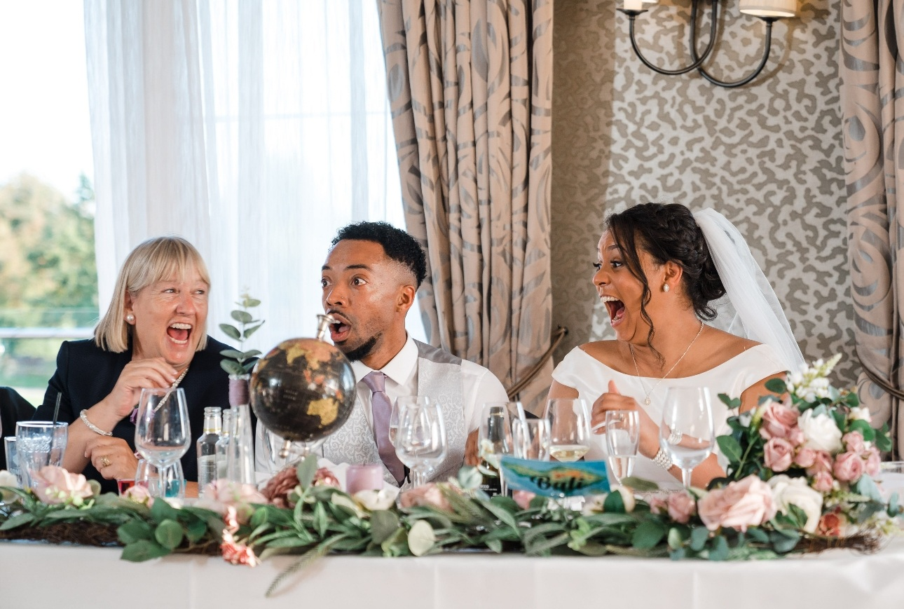 Top table reacting to speeches
