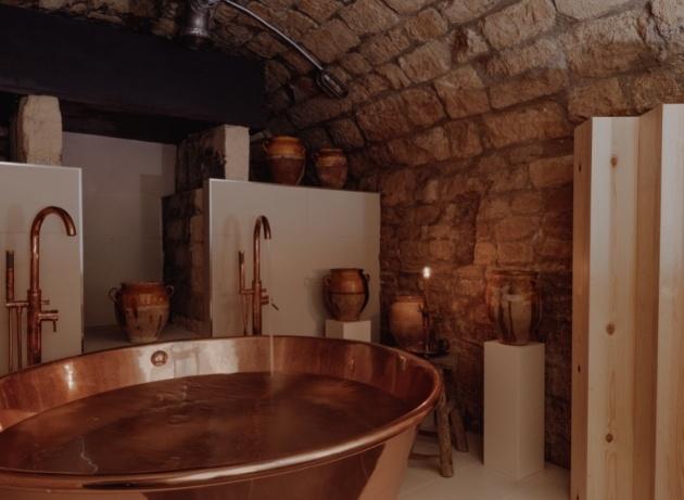 copper bath in cellar spa