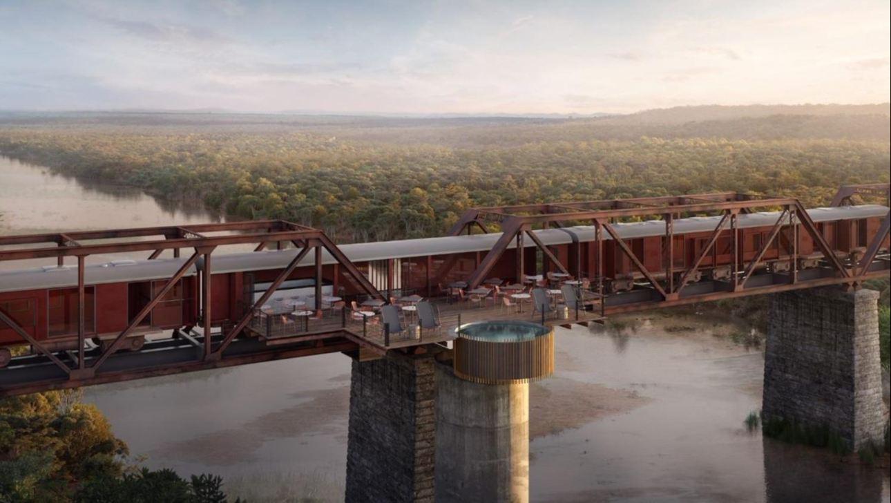 train hotel on bridge