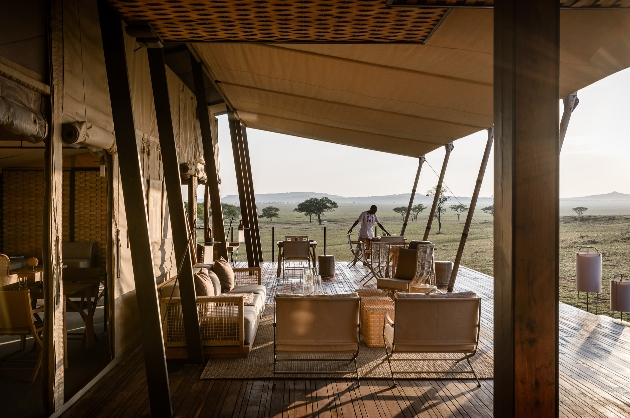 safari lodge on stilts with pool area
